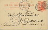 "GB 1895 QV 1d orangered VFU postcard Duplex ""LONDON-E.C / E.C / 63"" LATEST USAGE"