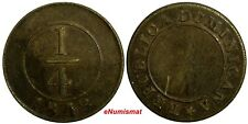 Dominican Republic Brass 1848 1/4 Real SCARCE KM# 2