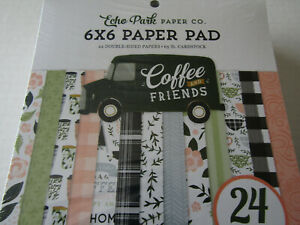 Echo Park Coffee and Friends 6x6 Paper Pad 24 double sided cardstock
