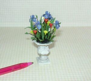 """Miniature Fancy Flower Arrangement in Grey Resin Urn, 2 7/8"""" Tall: DOLLHOUSE"""
