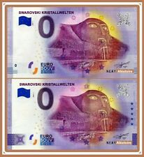 LOT 2 Billets Touristique Souvenir 0 euro SWAROVSKI CRISTAL 2020 Anniversary