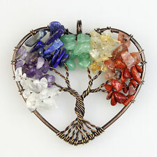 New Natural Multicolor Chip Beads Tree of Life Copper Heart Pendant