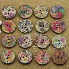 25mm 50 pcs coconut shell wood round sewing buttons 2 holes diy mixed floral