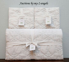 Pottery Barn KARLY SNOWFLAKE Embroidered King Coverlet Quilt+Shams WHITE SILVER