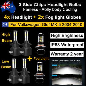 6x Headlight Fog light Globes For VW Volkswagen Golf MK5 2004-2010 LED Bulbs kit