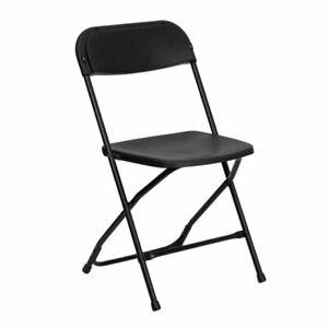 Flash Furniture Hercules Series Premium Black Plastic Folding Chair - LEL3BKGG