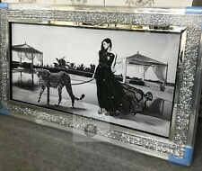 Lady and Leopard glitter wall art picture with mirrored crushed crystal frame