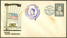 1957 Philippines A TRIBUTE TO PRESIDENT RAMON MAGSAYSAY First Day Cover - B