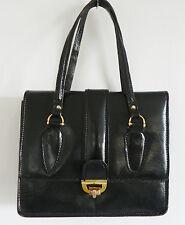 Vintage '50s Leather Bag Black Double Handle Hardware Trim Size 9x7x4