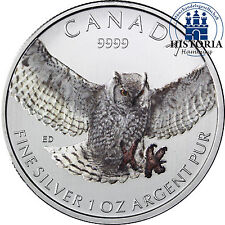 Birds of Prey Kanada 5 Dollars Silber 2015 bfr. Raubvögel: Virginia Uhu in Farbe