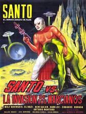 ADVERT FILM MOVIE MARTIAN INVASION SANTO MASK WRESTLER MEXICO PRINT BB4647A