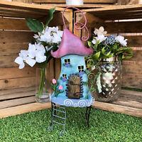 Metal Fairy Pixie Tree House Outdoor Garden Patio Sculpture Decorative Ornament