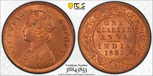 India British 1889 C 1/4 Anna PCGS MS64RD SW-6.509 PC0904* combine shipping<br/>