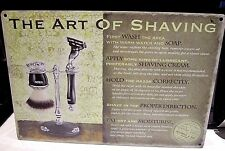 "THE ART OF SHAVING 12""X 8"" METAL SIGN 30X20cm BARBER SHOP/HAIRDRESSING SALON"