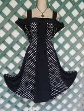 R&M RICHARDS POLKA DOT STRAPPY OPEN SHOULDER DRESS 2X NEW PARTY CHURCH WEDDING