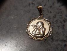 14K solid gold angel medallion pendant not scrap
