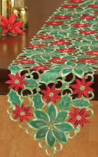 Gorgeous Embroidered Green & Red Poinsettia Christmas Table Runner, New!