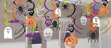Halloween Party Hanging Swirl Decoration 30Pk Skulls Pumpkins Ghosts Spiders