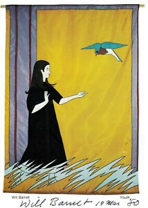 WILL BARNET Artist autographed Youth Banner Card, March 19, 1980