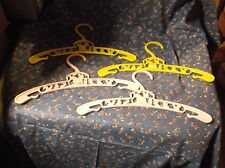 "4 Vintage Children's Plastic Hangers 9 7/8"" Wide 2 Pink 2 Yellow Variety Animals"