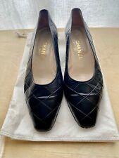 CHANEL Authentic Vintage Kitten Heel Classic Square Toe Pumps Size 37.5 / US 7