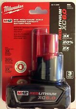 NEW Genuine Milwaukee 12 Volt 48-11-2460 M12 XC 6.0Ah Red Lithium Ion Battery