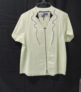 Jamie Sadock Women's Golf Shirt SS Kiwi & Purple/Blk Trim 100% Cotton Size M
