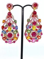 Sapphire Multi Gemstone Rose Vermeil Earring New listing