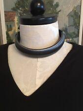 Lanvin Paris Necklace Grey Metal Serpentine HandMade W/ Grosgrain Ribbon