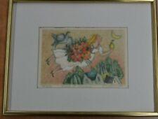 """DEBERDT FRANCOISE Litographie  EA 7/80 """" Fruit d'amour """" cadre/verre"""