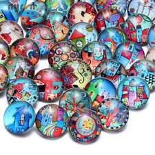 50pcs/lot 18mm Snap Button Fairytale Town Glass Charms For Snap Jewelry HM068