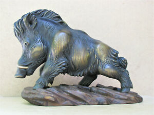 Boar Sculpture made of Wood Original Author's Sculpture Free Shipping