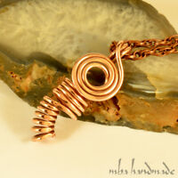 Pure Copper Antiqued Wire Wrapped Pendant Artisan Handcrafted Necklace