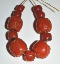 Antique Natural Real Red Coral Beads Collected From Nigeria, Africa Trade