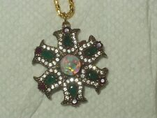 FLOATING OPAL PENDANT NECKLACE EMERALD RUBY 925 STERLING