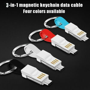 3In1 Key Chain USB Data Cord Key Ring Charger Cable For iPhone Android Type C XZ