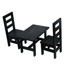 1/6 Dollhouse Miniature Dining Table Chair Set Kitchen Furniture Accs Black