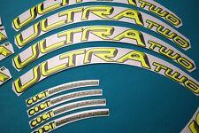 CAMPAGNOLO BORA ULTRA TWO FLUORESCENT YELLOW 3D DESIGN RIM DECAL SET FOR 2 RIMS