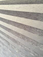 SILVER GREY STRIPE  SUPER SOFT CHENILLE CURTAIN UPHOLSTERY FABRIC CUSHIONS