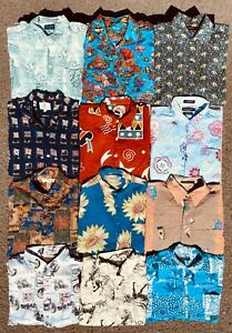 JOB LOT X12 UNISEX VINTAGE BUTTON DOWN MIXED PATTERN ALL OVER PRINT SHIRTS 27-05