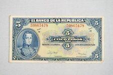 Cinco Pesos El Banco De La Republica Paper Currency