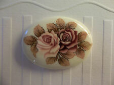 Vintage 40X30mm Glass Cabochons Pink & Mauve Roses on Beige Cameos - Qty 2