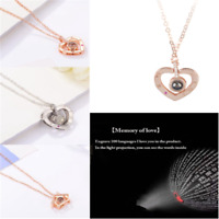 ab07772e17 I Love You 100 Languages Light Projection Pendant Necklace Women Lady  Jewelry
