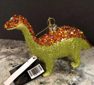 "Robert Stanley Brontosaurus Glass Christmas tree ornament dinosaur decoration 6"""