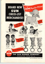 1956 PAPER AD 2 PG Sun Rubber Mickey Minnie Mouse Donald Duck Mister Frog