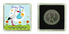 LUCKY Argento Massiccio Coin NEW Baby Boy Ricordo Regalo Baby Shower