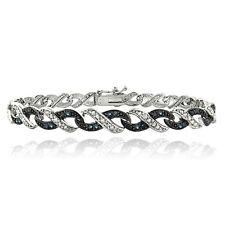 1/2ct Blue & White Diamond Infinity Brass Bracelet