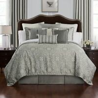NEW Waterford Bedding Celine Woven Texture EURO Sham Dove Grey/Ivory $70 i320