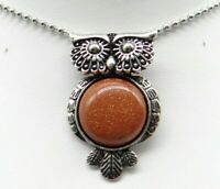 Gold sand stone Gem beads animal Owl Retro Silver Pendant necklace Jewelry P2