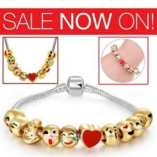 Emoji Charm Bracelet Gold Plated Silver 10 Beads Ladies Jewellery Gift UK